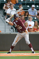 Texas A&M Aggies third baseman Adam Smith #20 at bat against the Texas Longhorns in NCAA Big XII Conference baseball on May 21, 2011 at Disch Falk Field in Austin, Texas. (Photo by Andrew Woolley / Four Seam Images)