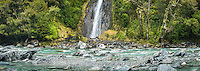 Haast River with Thunder Falls near Haast Pass, West Coast, South Westland, South Island, New Zealand