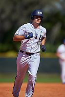 FIU Panthers designated hitter Adan Fernandez (18) rounds the bases after hitting a home run during a game against the South Dakota State Jackrabbits on February 23, 2019 at North Charlotte Regional Park in Port Charlotte, Florida.  South Dakota defeated FIU 4-3.  (Mike Janes/Four Seam Images)