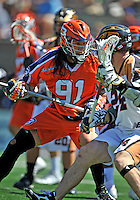 23 August 2008: Philadelphia Barrage Defenseman Brian Spallina in action against the Rochester Rattlers during the Semi-Finals of the Major League Lacrosse Championship Weekend at Harvard Stadium in Boston, MA. The Rattlers defeated the Barrage 16-15 in sudden death overtime, advancing to the upcoming Championship Game...Mandatory Photo Credit: Ed Wolfstein Photo