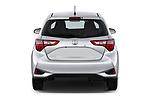 Straight rear view of a 2018 Toyota Yaris L 3-Door Liftback 3 Door Hatchback stock images