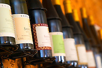 Bottles in the tasting room: Saint Joseph and others. Domaine Yves Cuilleron, Chavanay, Ampuis, Rhone, France, Europe