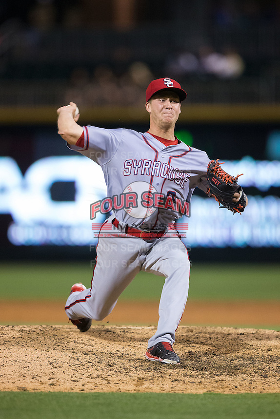 Syracuse Chiefs relief pitcher Trevor Gott (2) in action against the Charlotte Knights at BB&T BallPark on June 1, 2016 in Charlotte, North Carolina.  The Knights defeated the Chiefs 5-3.  (Brian Westerholt/Four Seam Images)