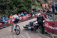 Wout Poels (NED/SKY) avoiding a crashed moto in the last hairpin up the infamous Monte Zoncolan (1735m/11%/10km)<br /> <br /> stage 14 San Vito al Tagliamento – Monte Zoncolan (186 km)<br /> 101th Giro d'Italia 2018