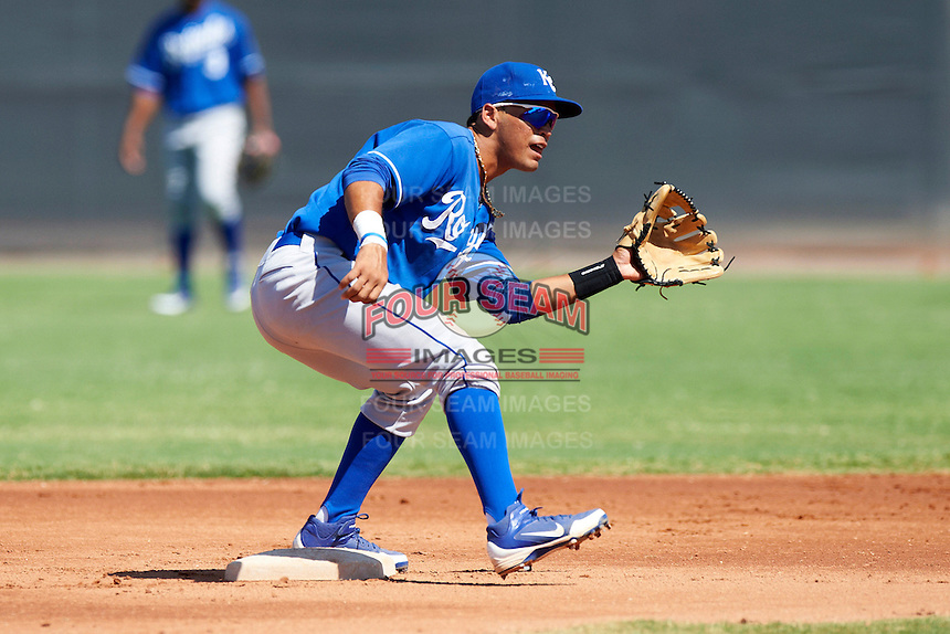 Kansas City Royals minor league infielder Humberto Arteago #1 during an instructional league game against the Seattle Mariners at the Peoria Sports Complex on October 2, 2012 in Peoria, Arizona. (Mike Janes/Four Seam Images)