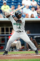 Cedar Rapids Kernels outfielder Kevin Moesquit #4 during a game against the Quad Cities River Bandits at Modern Woodmen Park on June 30, 2012 in Davenport, Illinois.  Quad Cities defeated Davenport 8-7.  (Mike Janes/Four Seam Images)
