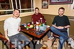 Darcy O'Sullivan, Graham Nelligan and Jason Kelly enjoying the evening in the Mall Tavern on Thursday.