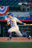 St. Lucie Mets catcher Brandon Brosher (25) follows through on a swing during a game against the Florida Fire Frogs on April 19, 2018 at Osceola County Stadium in Kissimmee, Florida.  St. Lucie defeated Florida 3-2.  (Mike Janes/Four Seam Images)