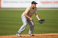 Mark Thompson (4) of the Lake County Captains takes fielding practice at Fieldcrest Cannon Stadium in Kannapolis, NC, Saturday, April 26, 2008.