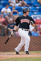 Brett Bonvechio (52) of the Winston-Salem Warthogs follows through on his swing at Ernie Shore Field in Winston-Salem, NC, Saturday August 9, 2008. (Photo by Brian Westerholt / Four Seam Images)