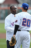 Buffalo mayor Byron W. Brown shakes hands with Jhonatan Solano #20 after throwing out the first pitch before a game against the Syracuse Chiefs at Dunn Tire Park on April 7, 2011 in Buffalo, New York.  Syracuse defeated Buffalo 8-5.  Photo By Mike Janes/Four Seam Images