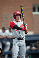 Ohio State Buckeyes shortstop Zach Dezenzo (4) at the plate against the Michigan Wolverines on April 9, 2021 in NCAA baseball action at Ray Fisher Stadium in Ann Arbor, Michigan. Ohio State beat the Wolverines 7-4. (Andrew Woolley/Four Seam Images)