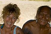 Pará State, Brazil. Aldeia Moikarako. Sue Cunningham and Cacique Moté Kayapo.