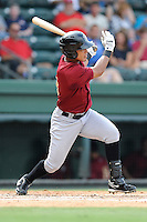 Right fielder Victor Cruzado (18) of the Savannah Sand Gnats bats in a game against the Greenville Drive on Sunday, August 24, 2014, at Fluor Field at the West End in Greenville, South Carolina. Greenville won, 8-5. (Tom Priddy/Four Seam Images)