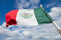 Mexican flag on the ferry from Playa del Carmen to Cozumel.<br /> <br /> Canon EOS 5D Mk II, 24-105L lens