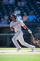 Glendale Desert Dogs Osvaldo Abreu (6), of the Washington Nationals organization, during a game against the Surprise Saguaros on October 22, 2016 at Surprise Stadium in Surprise, Arizona.  Surprise defeated Glendale 10-8.  (Mike Janes/Four Seam Images)