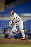 Clearwater Threshers pitcher Jacob Waguespack (49) during a game against the Dunedin Blue Jays on April 8, 2017 at Florida Auto Exchange Stadium in Dunedin, Florida.  Dunedin defeated Clearwater 12-6.  (Mike Janes/Four Seam Images)