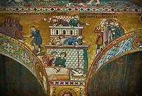 Medieval Byzantine style mosaics of the Bible story of building Babel Palatine Chapel, Cappella Palatina, Palermo, Italy