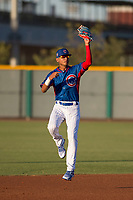 AZL Cubs 2 shortstop Luis Verdugo (18) during an Arizona League game against the AZL Reds at Sloan Park on June 18, 2018 in Mesa, Arizona. AZL Cubs 2 defeated the AZL Reds 4-3. (Zachary Lucy/Four Seam Images)
