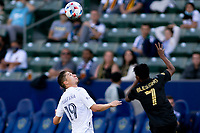 CARSON, CA - MAY 8: Jorge Villafana #19 of the Los Angeles Galaxy looking at a head shot during a game between Los Angeles FC and Los Angeles Galaxy at Dignity Health Sports Park on May 8, 2021 in Carson, California.