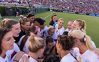 PASADENA, CA - AUGUST 4: The USWNT huddles during a game between Ireland and USWNT at Rose Bowl on August 3, 2019 in Pasadena, California.
