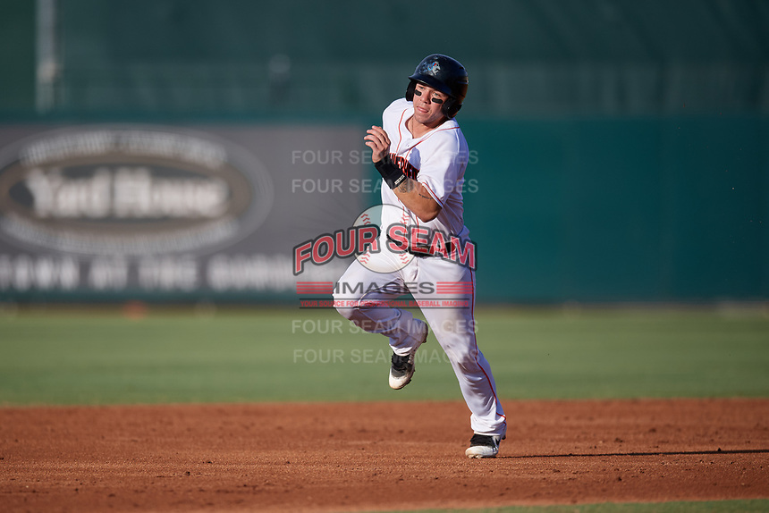 Jupiter Hammerheads catcher B.J. Lopez (15) runs the bases during a game against the Palm Beach Cardinals on August 4, 2018 at Roger Dean Chevrolet Stadium in Jupiter, Florida.  Palm Beach defeated Jupiter 7-6.  (Mike Janes/Four Seam Images)