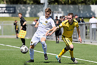 Henry Hamilton of the Wellington Phoenix competes for the ball with Andrew Bevin of Team Wellington during the ISPS Handa Men's Premiership - Wellington Phoenix v Team Wellington at Fraser Park, Wellington on Saturday 14 November 2020.<br /> Copyright photo: Masanori Udagawa /  www.photosport.nz