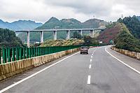 Guizhou, China.  Approaching Intersection of Two Highways near Kaili.