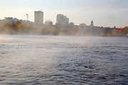 Manchester, New Hampshire USA during the autumn months from the Merrimack River.