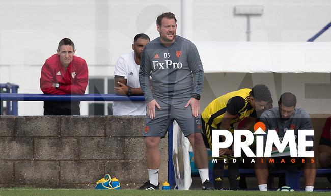 Watford senior youth manager Darren Sarll during the Professonal Development League match between Watford U23 and Sheffield United U23 at The Maurice Rebak Stadium, Summers Lane, England on 17 August 2018. Photo by Andy Rowland.