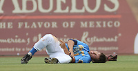 Cole Miles #1of the Myrtle Beach Pelicans after being injured during a collision in the outfield during a game against the Lynchburg Hillcats on May 26, 2010 at BB&T Coastal Field in Myrtle Beach, SC. Miles left the game but luckily was not badly hurt and returned to the lineup soon after.