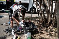 post-ride shoe-clean by South-African champion Daryl Impey (ZAF/Mitchelton-Scott)<br /> <br /> restday 2<br /> 106th Tour de France 2019 (2.UWT)<br /> <br /> ©kramon