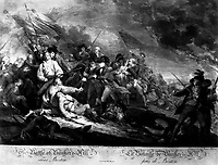 The Battle of Bunker's Hill, near Boston.  June 1775.  Copy of engraving by James Mitan after John Trumbull, published 1808.   (George Washington Bicentennial Commision)<br /> Exact Date Shot Unknown<br /> NARA FILE #:  148-GW-454<br /> WAR & CONFLICT #:  14