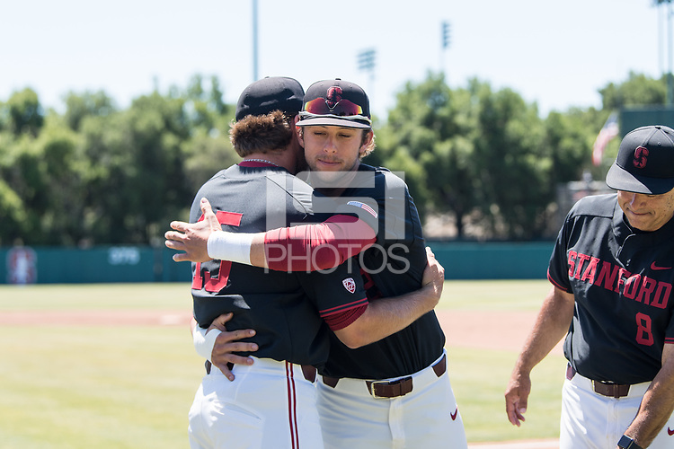 STANFORD, CA - MAY 29: Nick Brueser, Grant Burton before a game between Oregon State University and Stanford Baseball at Sunken Diamond on May 29, 2021 in Stanford, California.