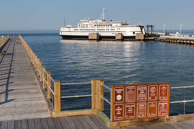 A Steamship Authority ferry waits to depart from Oak Bluffs on Martha's Vineyard for the trip back to Woods Hole on the mainland.