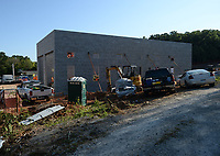 Workers from Nabholz Construction continue work Thursday, Sept. 9, 2021, on Fayetteville Fire Department Station 9 at , one of two new stations fire stations being constructed currently with a third planned. The improvements are a part of the 2019 Bond approved by voters in April 2019 that includes up to $15.8 million for improvements to the department's facilities and the purchase of three new trucks and other equipment. Visit nwaonline.com/210910Daily/ for today's photo gallery.<br /> (NWA Democrat-Gazette/Andy Shupe)
