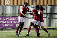Devonte Aransibia of Potters Bar scores the second goal for his team and celebrates with his team mates during Haringey Borough vs Potters Bar Town, Pitching In Isthmian League Premier Division Football at Coles Park Stadium on 28th September 2021