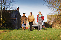 Pictured L-R: Campaigners Jess Buchanan, Gareth Chapman and Gerald Miles at Trecadwgan farm near Solva. Friday 10 January 2020<br /> Re: Farmers campaigning to save a 14th century farm called Trecadwgan and keep it for a community project in Solva, west Wales, UK.