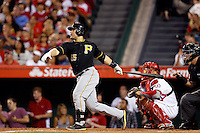 Russell Martin #55 of the Pittsburgh Pirates bats against the Los Angeles Angels at Angel Stadium on June 21, 2013 in Anaheim, California. (Larry Goren/Four Seam Images)