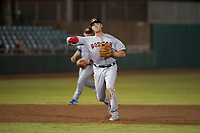 Mesa Solar Sox third baseman Bobby Dalbec (11), of the Boston Red Sox organization, throws to first base during an Arizona Fall League game against the Scottsdale Scorpions on October 9, 2018 at Scottsdale Stadium in Scottsdale, Arizona. The Solar Sox defeated the Scorpions 4-3. (Zachary Lucy/Four Seam Images)