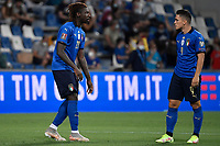 Moise Kean talks to Giacomo Raspadori of Italy during the Qatar 2022 world cup qualifying football match between Italy and Lithuania at Citta del tricolore stadium in Reggio Emilia (Italy), September 8th, 2021. Photo Andrea Staccioli / Insidefoto