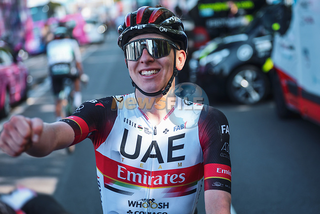 Tadej Pogacar (SLO) UAE Team Emirates wins the 107th edition of Liege-Bastogne-Liege 2021, running 259.1km from Liege to Liege, Belgium. 25th April 2021.  <br /> Picture: A.S.O./Aurelien Vialatte | Cyclefile<br /> <br /> All photos usage must carry mandatory copyright credit (© Cyclefile | A.S.O./Aurelien Vialatte)