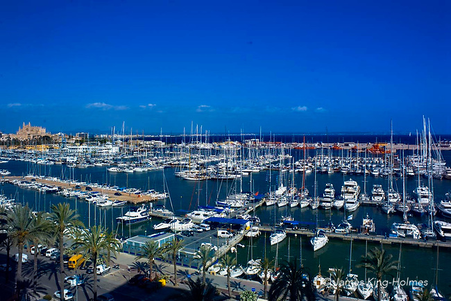 The marinas close to the Paseo Maritimo in Palma de Mallorca, Balearic Islands, Spain. The boats moored beyond the ones closest to the shore are in the marina of the Royal Nautical Club of Palma.