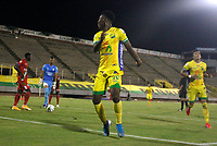 NEIVA -COLOMBIA,23-12-2020:Brayan Moreno del Atlético Huila celerbra su gol contra Cortuluá.Atlético Huila y Cortuluá  en partido ida  por el campeonato final  del Torneo BetPlay DIMAYOR I 2020 jugado en el estadio Guillermo Plazas Alcid . / Brayan Moreno player of Atletico Huila celebrates his goal agaisnt of Cortulua.  Atletico Huila  and Cortulua  in firts  match for date BetPlay DIMAYOR Tournament I 2020 played at Guillermo Plazas Alcid stadium in Neiva: VizzorImage/ Sergio Reyes / Contribuidor