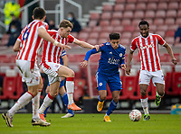 9th January 2021; Bet365 Stadium, Stoke, Staffordshire, England; English FA Cup Football, Carabao Cup, Stoke City versus Leicester City; James Justin of Leicester City makes a break under pressure from Harry Souttar of Stoke City