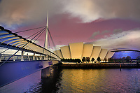 SCO - SCOTLAND<br /> GLASGOW Bell's Bridge, Clyde Auditorium Amardillo and the Hydro Glasgow Arena on the Clyde Waterfront<br /> <br /> Full size: 69,2 MB