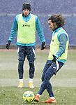 Getafe CF's Mathias Olivera (l) and Marc Cucurella during training session. January 7, 2021.(ALTERPHOTOS/Acero)