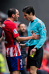 Diego Roberto Godin Leal (L) of Atletico de Madrid speaks to referee Jose Luis Munuera Montero during the La Liga 2017-18 match between Atletico de Madrid and Getafe CF at Wanda Metropolitano on January 06 2018 in Madrid, Spain. Photo by Diego Gonzalez / Power Sport Images