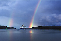 Seawind Line is escorted by a dramatic double rainbow after the storm.