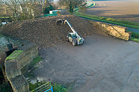 Clamping sugar beet on concrete - Lincolnshire, December